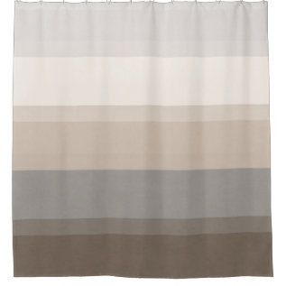 Chic Taupe, Cream And Gray Striped Shower Curtain at Zazzle