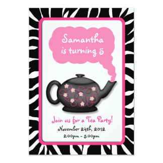 Chic Tea Time Girls Pink Birthday Party Invites