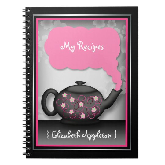 Chic Tea Time Pink & Black Recipe Notebook
