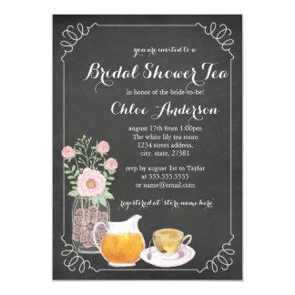 Chic Teacup Chalkboard Bridal Shower Invitation