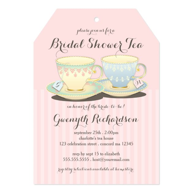 Chic Teacup Duet Bridal Shower Tea Party 5x7 Paper Invitation Card (front side)