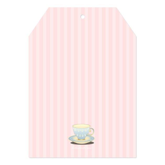 Chic Teacup Duet Bridal Shower Tea Party 5x7 Paper Invitation Card (back side)