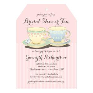 Chic Teacup Duet Bridal Shower Tea Party Announcement