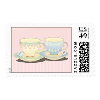Chic Teacup Duet Personalized Tea Party Stamp