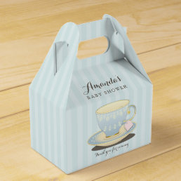 Chic Teacup in Blue Baby Shower Gable Favor Box