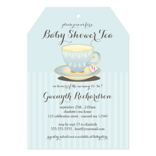 Chic Teacup in Blue Baby Shower Tea Party 5x7 Paper Invitation Card