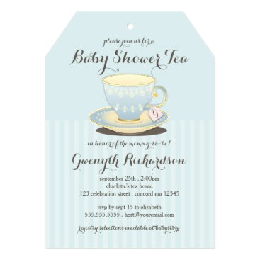 Toddler & Baby themed Chic Teacup in Blue Baby Shower Tea Party Card