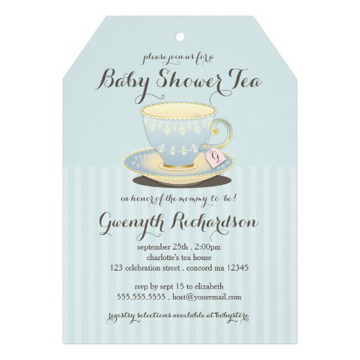 Chic Teacup in Blue Baby Shower Tea Party Invite