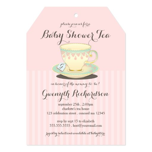 Chic Teacup on Pink Baby Shower Tea Party 5x7 Paper Invitation Card