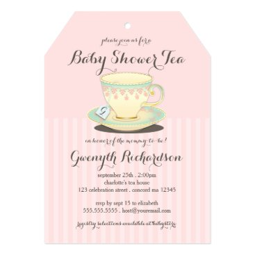 Toddler & Baby themed Chic Teacup on Pink Baby Shower Tea Party Card
