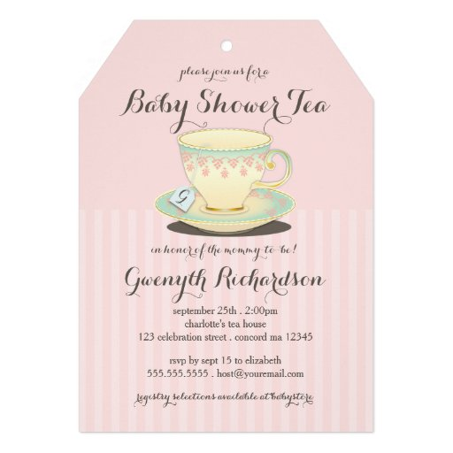 Chic Teacup on Pink Baby Shower Tea Party Announcements