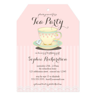 Chic Teacup on Pink Birthday Tea Party 5x7 Paper Invitation Card