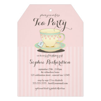 Chic Teacup on Pink Birthday Tea Party Personalized Invite