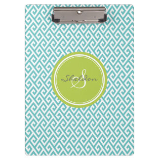 Chic teal abstract geometric pattern monogram clipboards