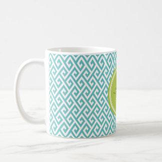 Chic teal abstract geometric pattern monogram coffee mug