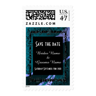 Chic teal and black save the date postage