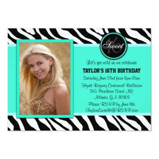 Chic Teal and Black Zebra Print Photo Invite
