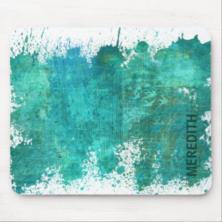 Chic Teal And Gold Watercolor Pattern Mouse Pad