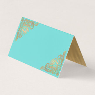 Chic Teal and Gold Wedding Folded Place Card