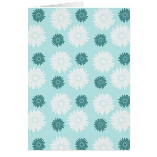 Chic Teal and White Flowers Greeting Card