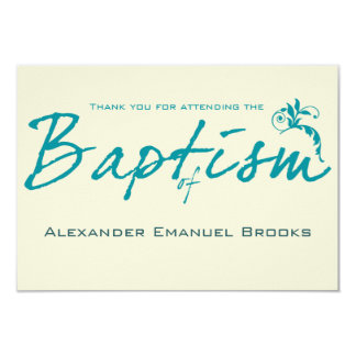 Chic Teal Baptism Photo Thank You Card