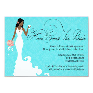 """Chic Teal Black Coral Damask Here Comes the Bride 5"""" X 7"""" Invitation Card"""