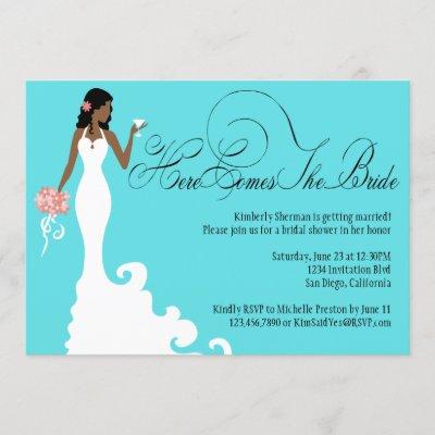 Chic Teal Black Coral Here Comes the Bride Invitation