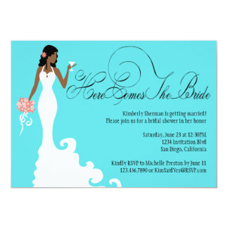 """Chic Teal Black Coral Here Comes the Bride 5"""" X 7"""" Invitation Card"""
