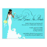 Chic Teal Black Yellow Here Comes the Bride 5x7 Paper Invitation Card