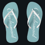 "Chic teal blue bridesmaid beach wedding flip flops<br><div class=""desc"">Chic teal blue bridesmaid beach wedding flip flops. Personalizable elegant flipflops for bride"