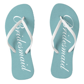 Chic teal blue bridesmaid beach wedding flip flops