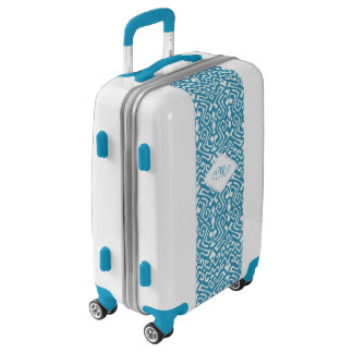 Chic teal blue ikat tribal patterns monogram luggage