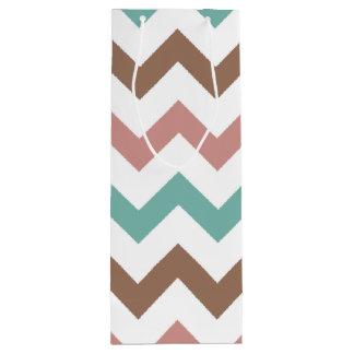 Chic Teal Brown Pink Chevron Pattern Wine Gift Bag