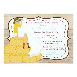 Chic Teal Cowgirl Country Bride Bridal Shower Card