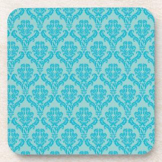 Chic Teal Damask Pattern Beverage Coaster