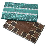 Chic Teal Faux Glitter and Diamonds Assorted Chocolates