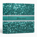 Chic Teal Faux Glitter and Diamonds Binder