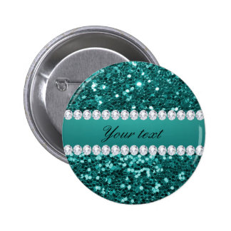Chic Teal Faux Glitter and Diamonds Button