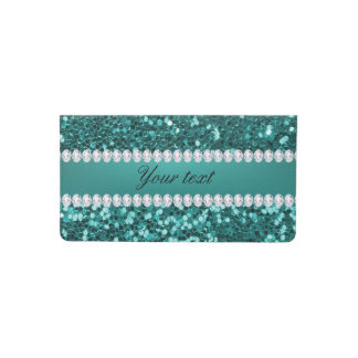 Chic Teal Faux Glitter and Diamonds Checkbook Cover