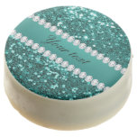Chic Teal Faux Glitter and Diamonds Chocolate Covered Oreo