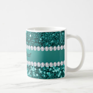 Chic Teal Faux Glitter and Diamonds Coffee Mug