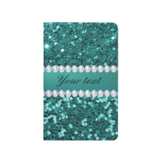 Chic Teal Faux Glitter and Diamonds Journal