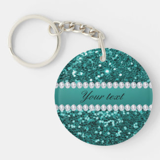 Chic Teal Faux Glitter and Diamonds Keychain