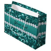 Chic Teal Faux Glitter and Diamonds Large Gift Bag
