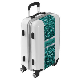 Chic Teal Faux Glitter and Diamonds Luggage
