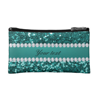 Chic Teal Faux Glitter and Diamonds Makeup Bag