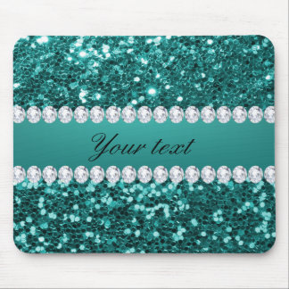 Chic Teal Faux Glitter and Diamonds Mouse Pad
