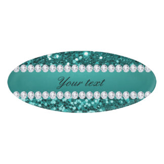 Chic Teal Faux Glitter and Diamonds Name Tag