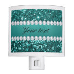 Chic Teal Faux Glitter and Diamonds Night Light