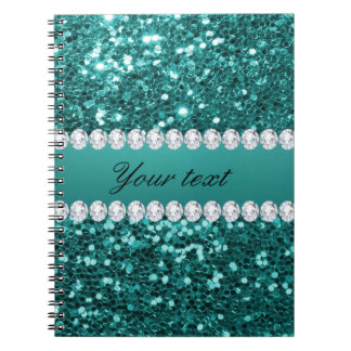 Chic Teal Faux Glitter and Diamonds Notebook